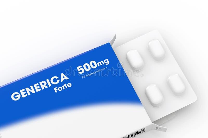 Blaues generica medizinischer Pillekasten vektor abbildung