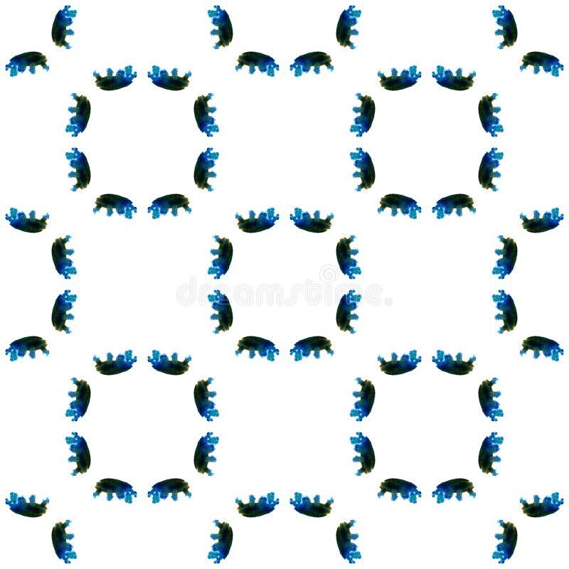 Blaues geometrisches Aquarell Nahtloses Muster Oberflächenverzierung stockbild
