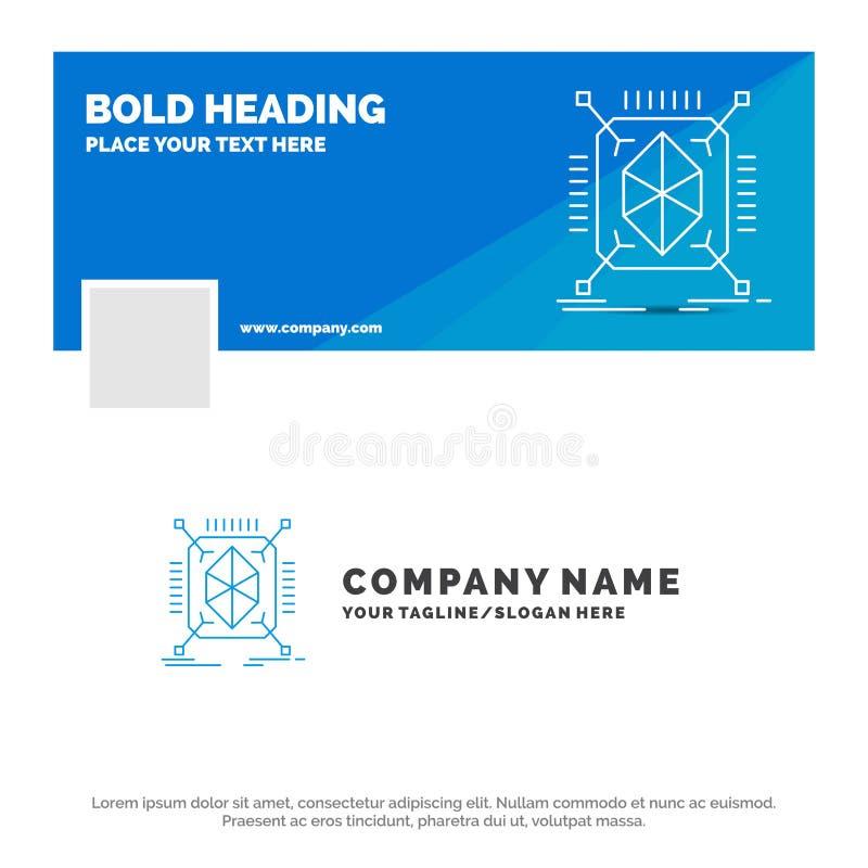 Blaues Geschäft Logo Template für Gegenstand, Erstausführung, schnell, Struktur, 3d r Thema der Kinder lizenzfreie abbildung