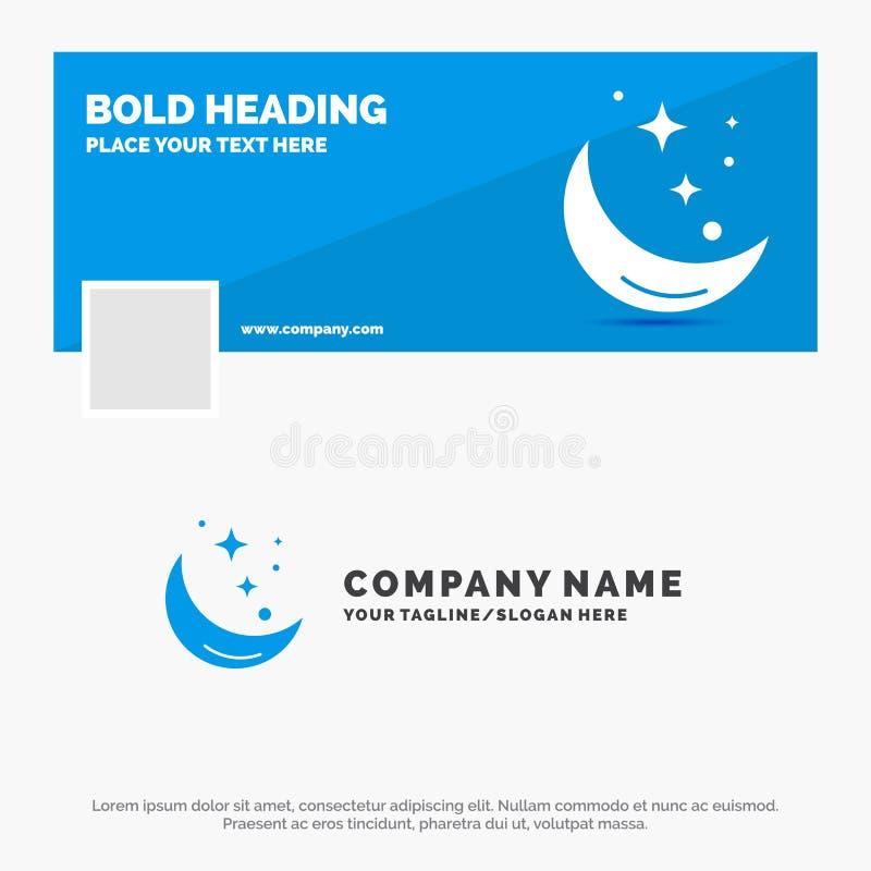 Blaues Geschäft Logo Template für Mond, Nacht, Stern, Wetter, Raum r Vektornetz-Fahnenhintergrund lizenzfreie abbildung