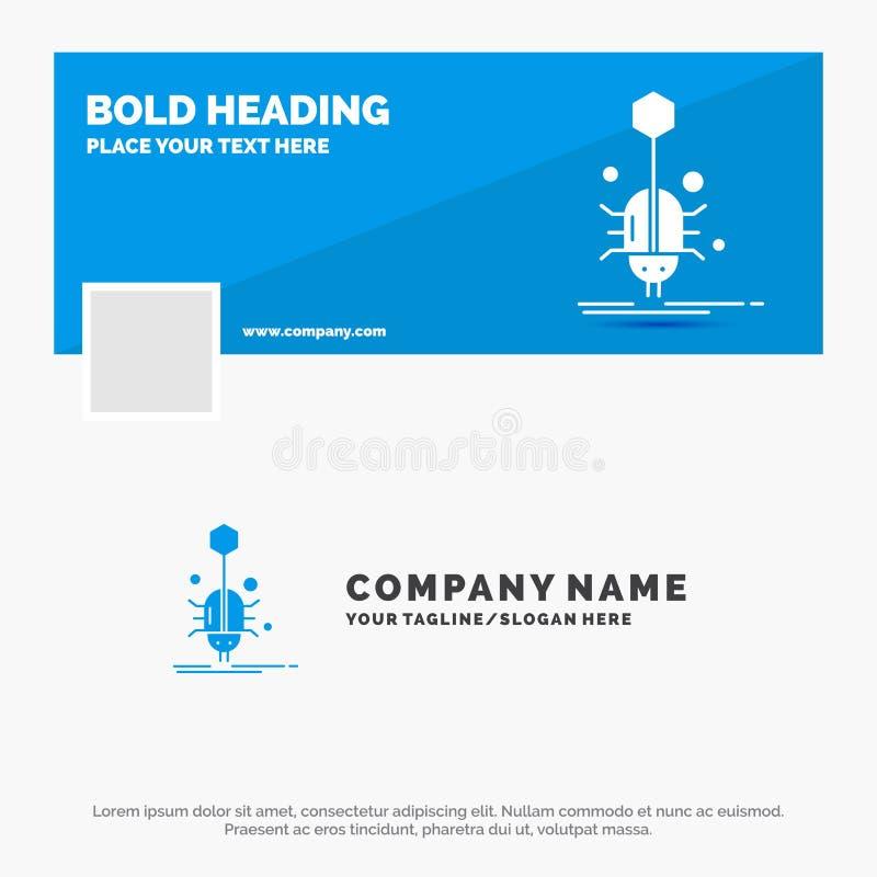 Blaues Geschäft Logo Template für Wanze, Insekt, Spinne, Virus, Netz r Vektornetz-Fahnenhintergrund stock abbildung