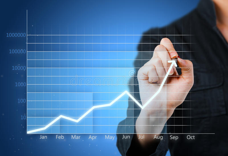 Blaues Geschäftsdiagramm, das Wachstum zeigt stockbild