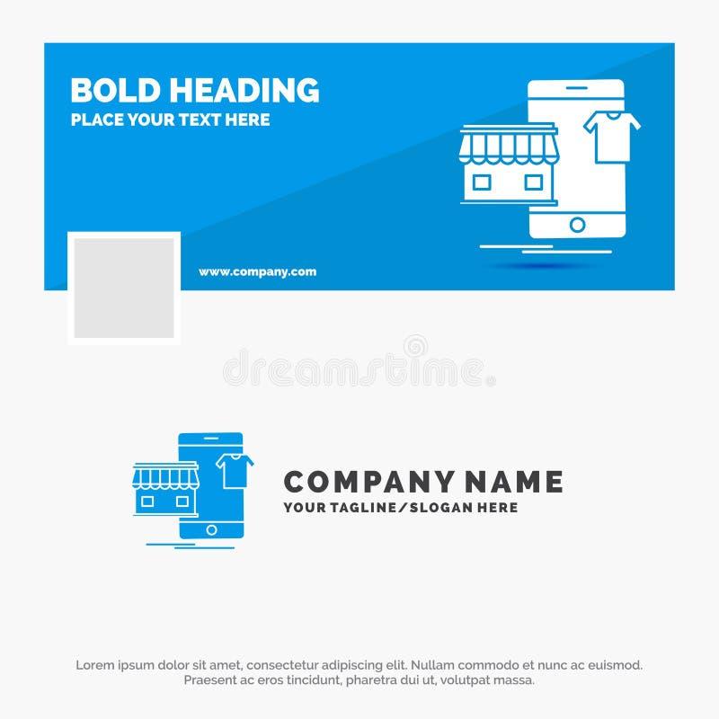 Blaues Gesch?ft Logo Template f?r den Einkauf, Kleider, Kauf, on-line, Gesch?ft r Thema der Kinder lizenzfreie abbildung