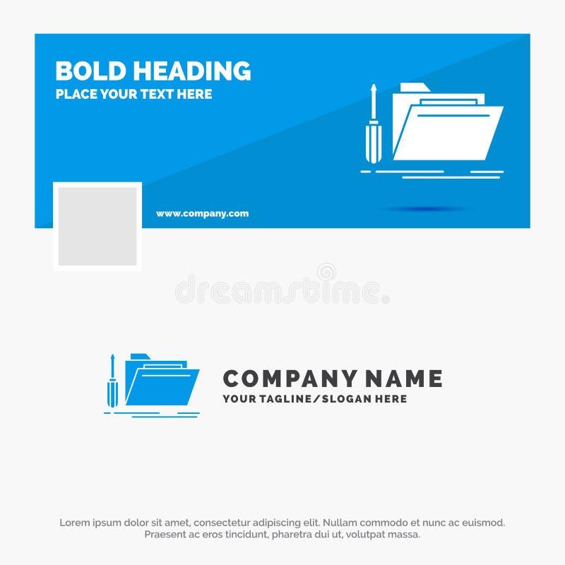 Blaues Gesch?ft Logo Template f?r Ordner, Werkzeug, Reparatur, Ressource, Service r Thema der Kinder lizenzfreie abbildung