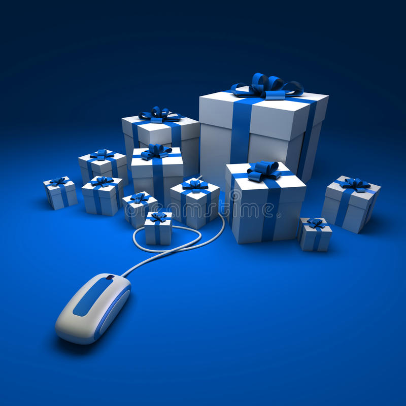 Blaues Geschenk Einkaufen vektor abbildung