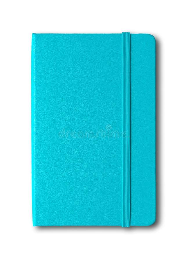 Blaues geschlossenes Notizbuch des Aqua lokalisiert auf Weiß lizenzfreie stockbilder