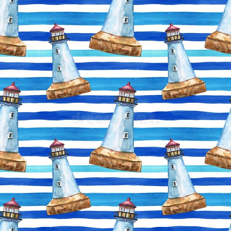 Blaues gestreiftes Muster des Sommers mit Handgezogenem Aquarellleuchtturm Seemarinedruck lizenzfreies stockfoto