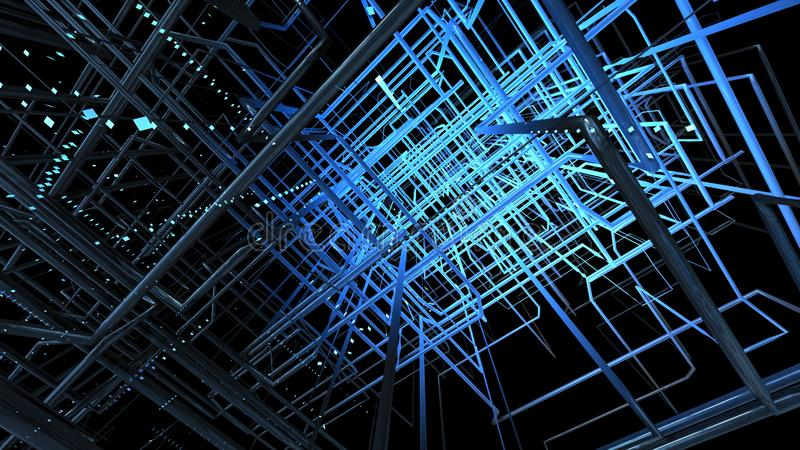 Blaues Gitter gegen schwarzen Hintergrund 3 d-Illustration lizenzfreies stockfoto