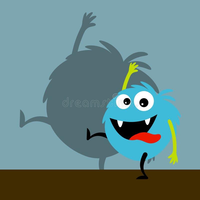 Blaues glückliches Monster mit Schatten stock abbildung