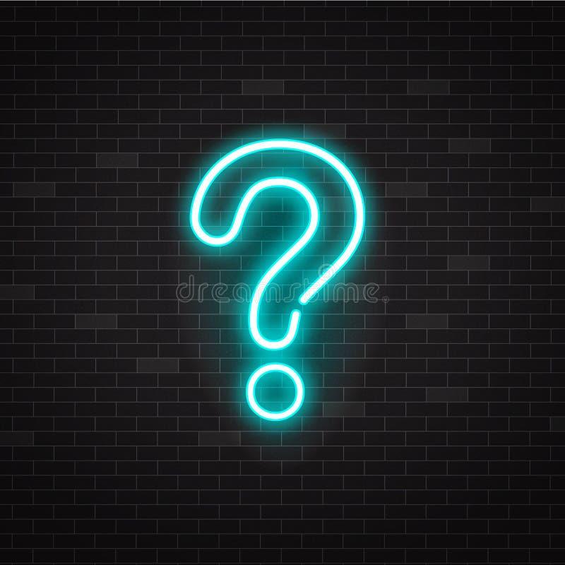 Blaues glühendes Entwurfsneonfragezeichen oder Zeichen auf schwarzem Hintergrund vektor abbildung