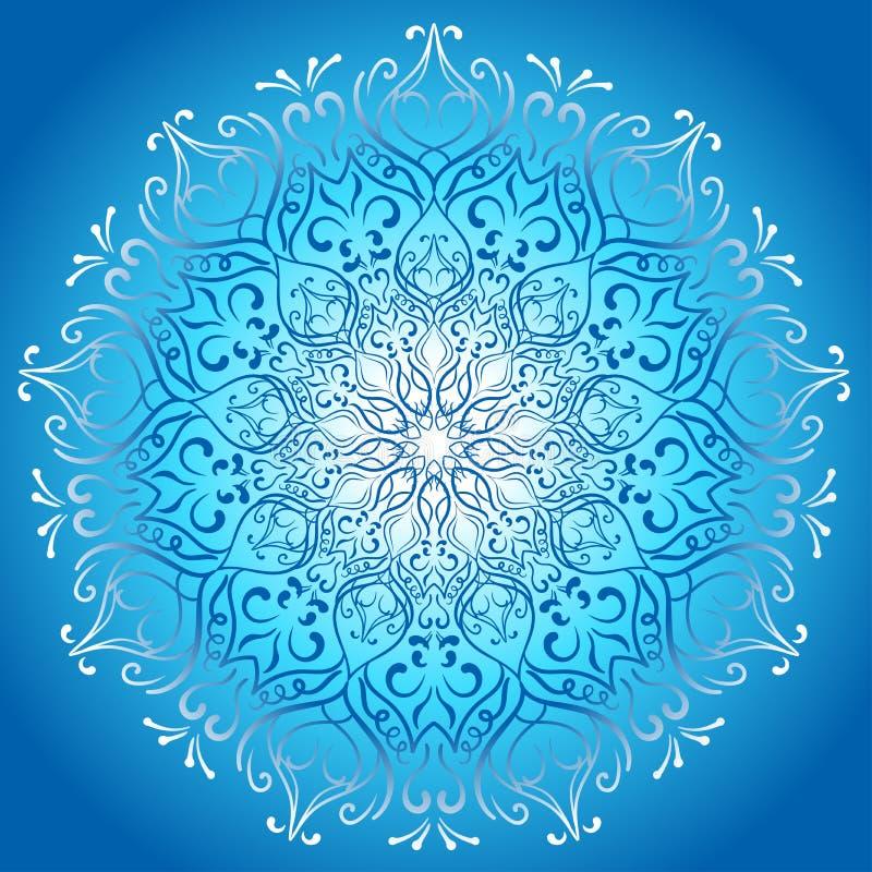 Blaues glühendes stilvolles Design der Mandala glückliches neues Jahr 2007 lizenzfreie abbildung