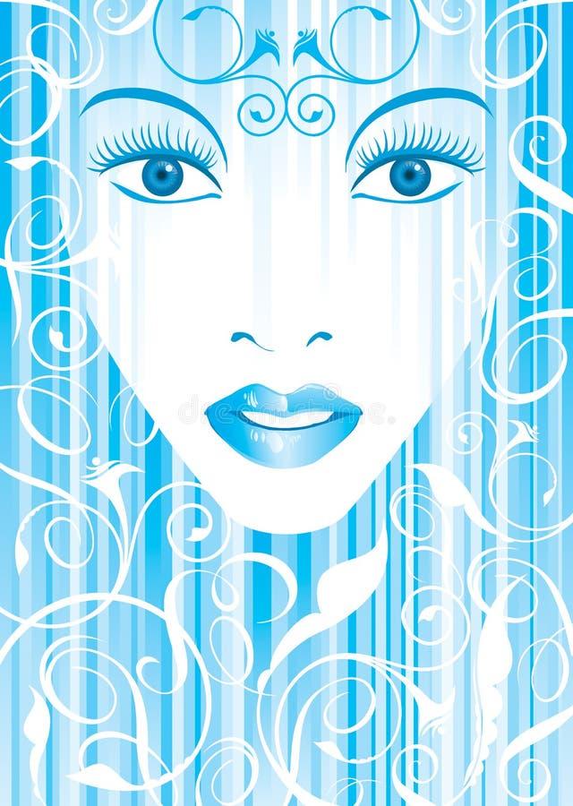 Blaues glamor Mädchen stock abbildung