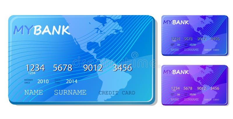 Blaues Gutschrift- und Debitkarteikonenset lizenzfreie abbildung