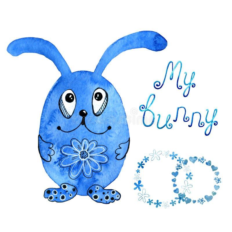 Blaues Häschen, Kaninchen einladung Zeichnung im Aquarell und grafische Art für den Entwurf von Drucken, Hintergründe, Karten stock abbildung