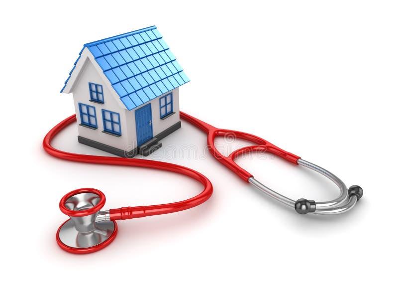 Blaues Haus und rotes Stethoskop lizenzfreie abbildung