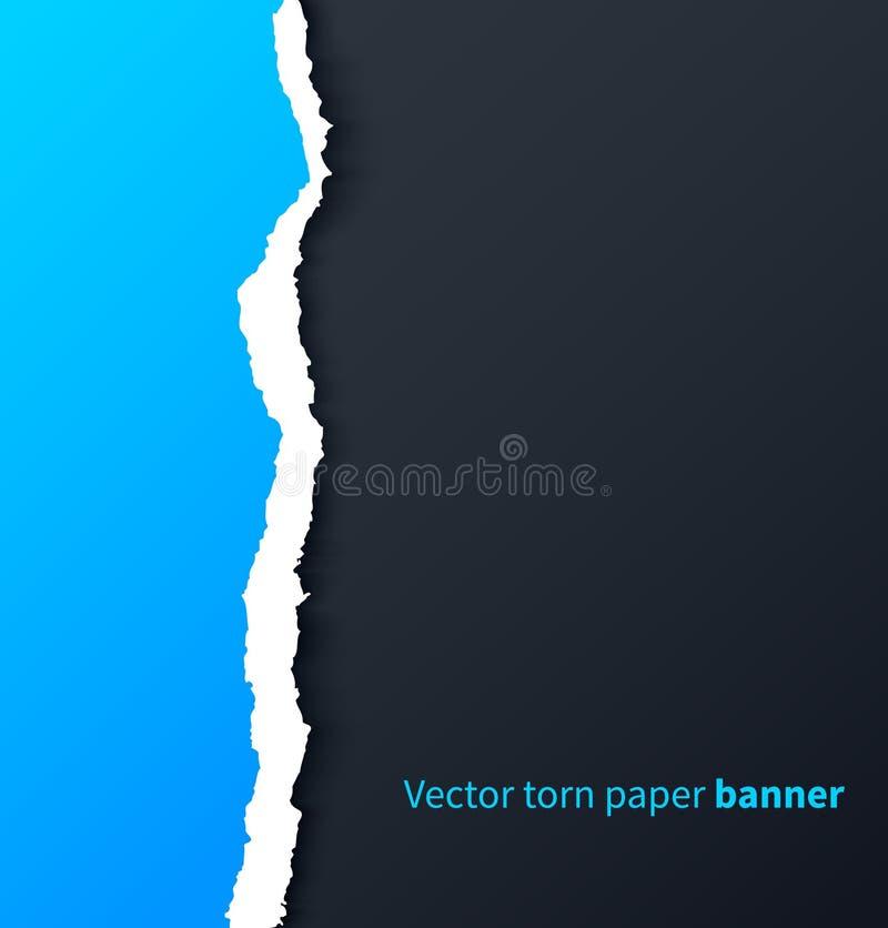Blaues heftiges Papier mit Schlagschatten auf Dunkelheit stock abbildung