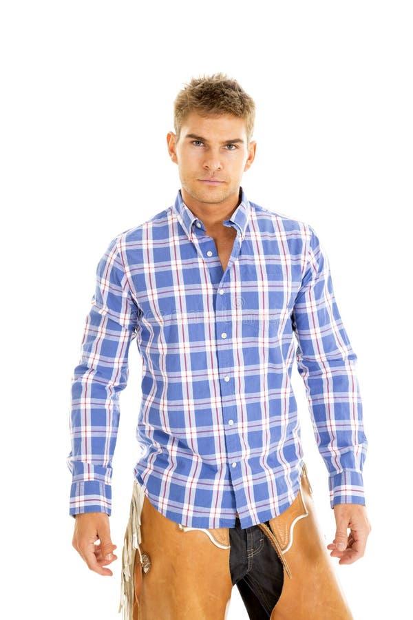 Blaues Hemd des Cowboyplaids ernst lizenzfreie stockfotos