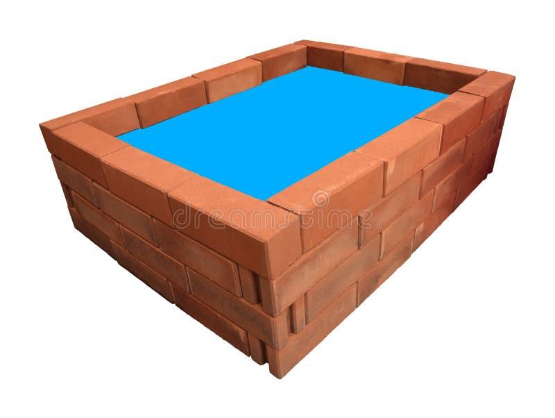 Blaues Ideenwasser des Spitzenrechteckziegelsteinteichs vektor abbildung