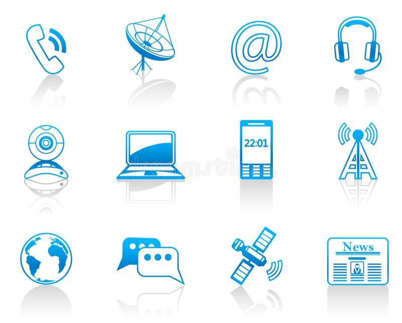 Blaues Ikonenset der Kommunikation stock abbildung