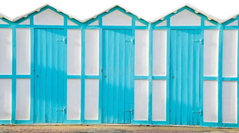 Blaues Kabinenmeer der Strandumkleideräume lizenzfreie stockfotos