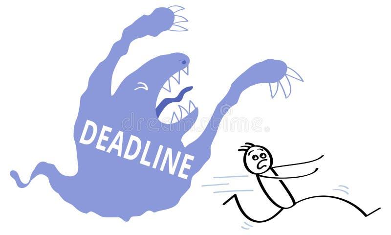 Blaues Karikaturmonster mit dem Wort FRIST geschrieben auf es frequentierender erschrockener Stockmann Druck, Druck, Vektorillust lizenzfreie abbildung