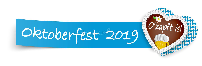blaues klebriges Papier mit Lebkuchenherzen Oktoberfest 2019 lizenzfreie abbildung