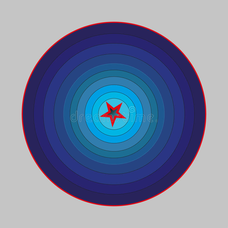 Blaues Korridor ilussion mit den roten Elementen lizenzfreie stockfotografie