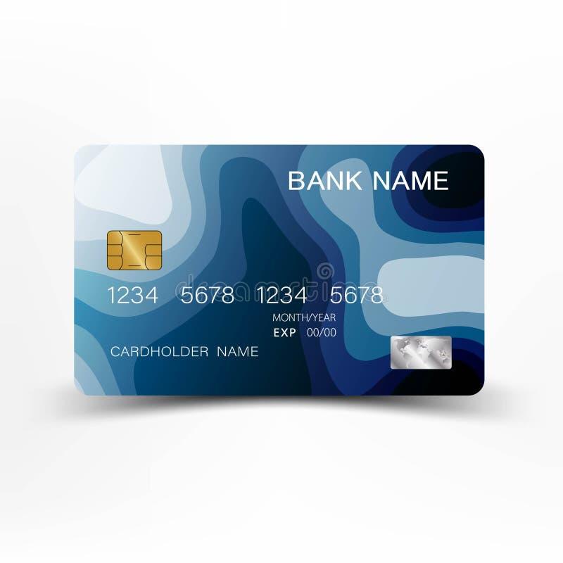 Blaues Kreditkarteschablonendesign Auch im corel abgehobenen Betrag stock abbildung
