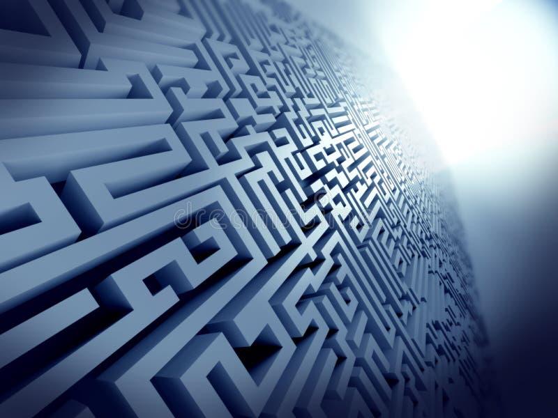 Blaues Labyrinth, komplexes Lösen- von Problemenkonzept stock abbildung