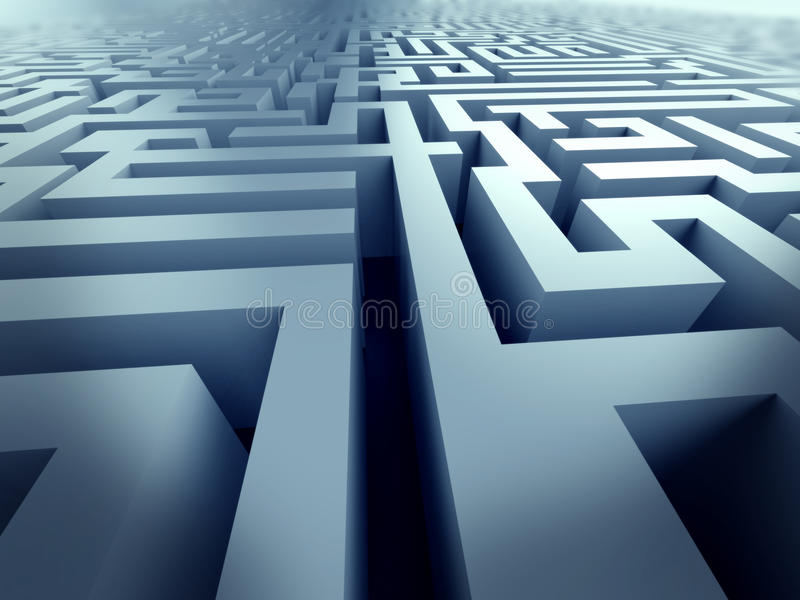 Blaues Labyrinth, komplexes Lösen- von Problemenkonzept lizenzfreie abbildung