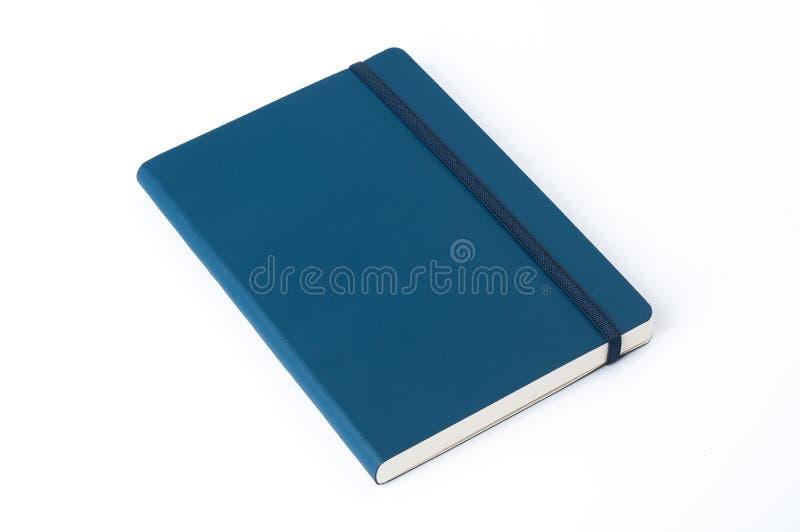 Blaues ledernes Notizbuch lokalisiert auf weißem Hintergrund stockbilder