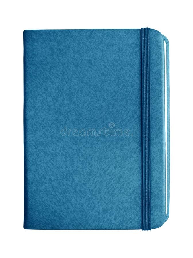 Blaues ledernes Notizbuch mit der Schließung des elastischen Bandes lokalisiert auf Whit lizenzfreie stockbilder