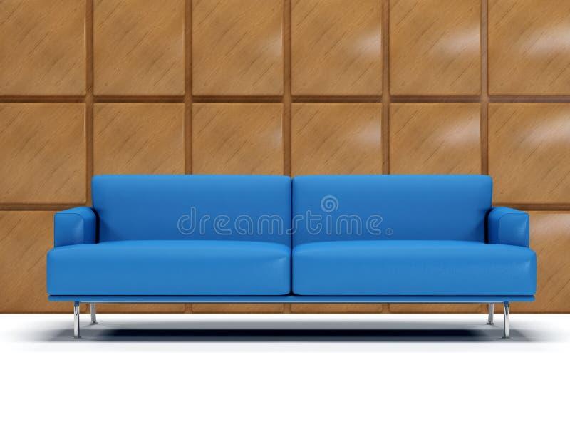 Blaues ledernes Sofa und boiserie stockbild
