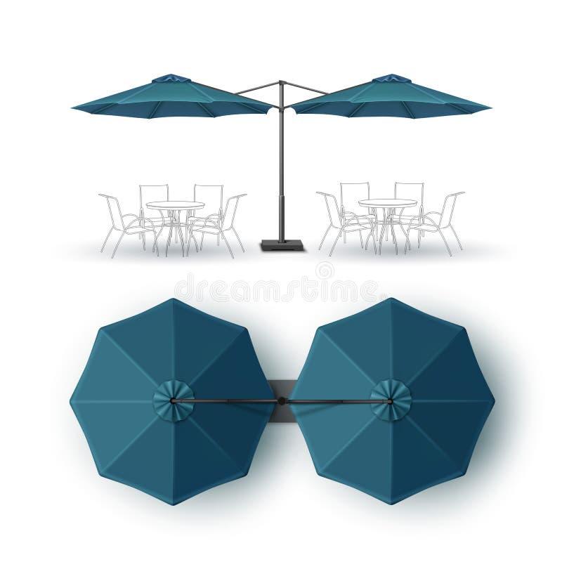 Blaues leeres Patio-Doppelt-Bar-Kneipen-Restaurant-im Freien runder Sonnenschirm lizenzfreie abbildung