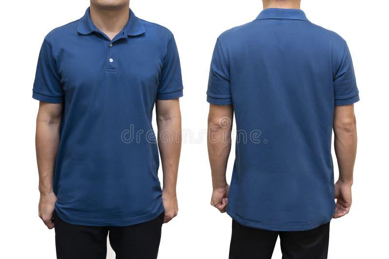 Blaues leeres Polot-shirt auf menschlichem Körper stockfotos