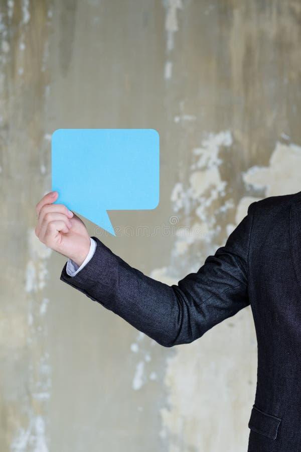 Blaues leeres Spracheblasengeschäft Frage-Antwort lizenzfreies stockbild