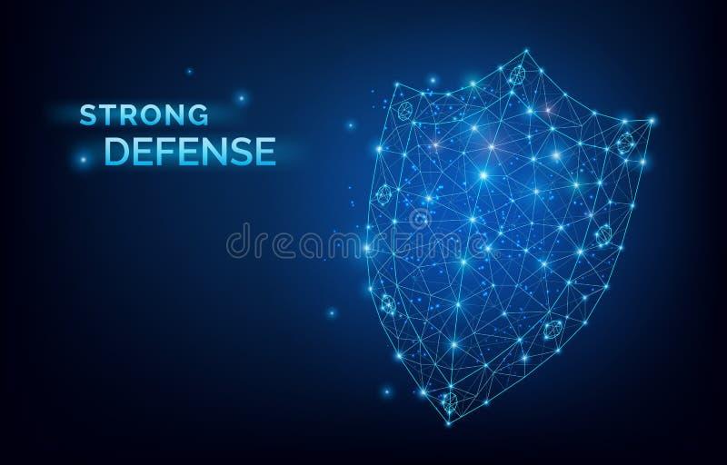 Blaues lowpoly Sicherheitssystem-Schild Starkes Verteidigungszeichen Datenschutz, Firmensicherheitsdienst, Antivirusprogramm stock abbildung