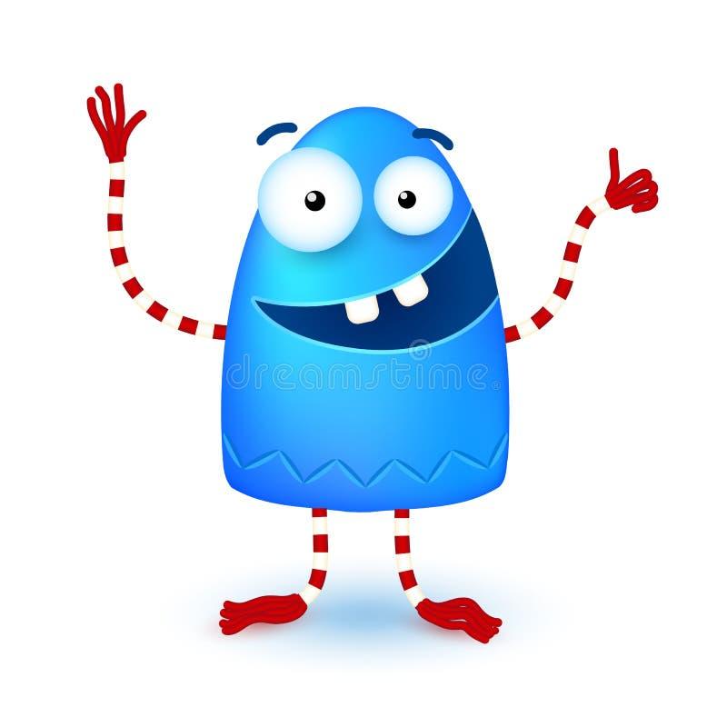 Blaues lustiges nettes kleines lächelndes Monster stock abbildung