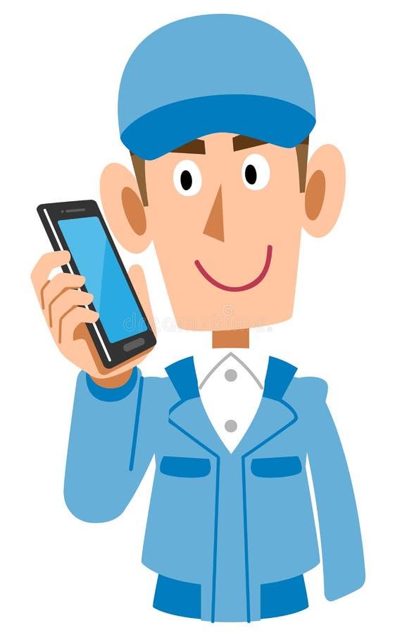 Blaues männliches Unterhalten der Arbeitskleidung am Handy vektor abbildung