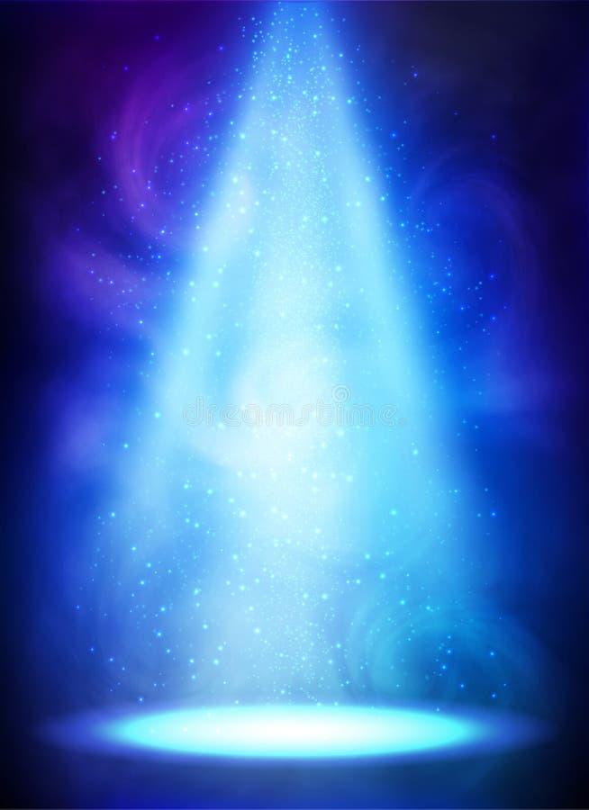 Blaues magisches rauchiges Scheinwerfervektorplakat stock abbildung