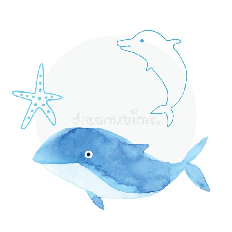 Blaues Meer des handgemachten Malereiaquarells, Papierbeschaffenheit stock abbildung