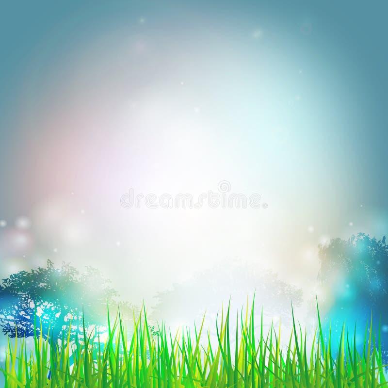 Blaues Meer, Himmel u Vektordesign für Druck oder Netz lizenzfreie abbildung