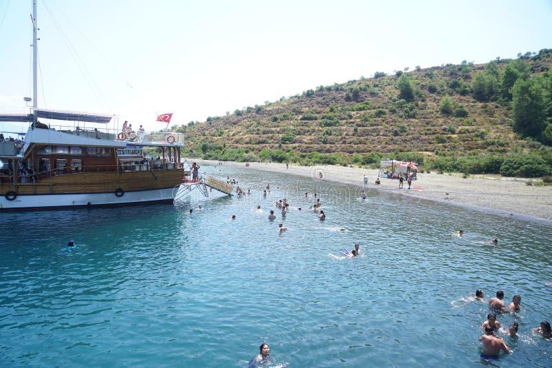 Blaues Meer yachts, bellt von Fethiye, Mugla, Turke lizenzfreie stockbilder