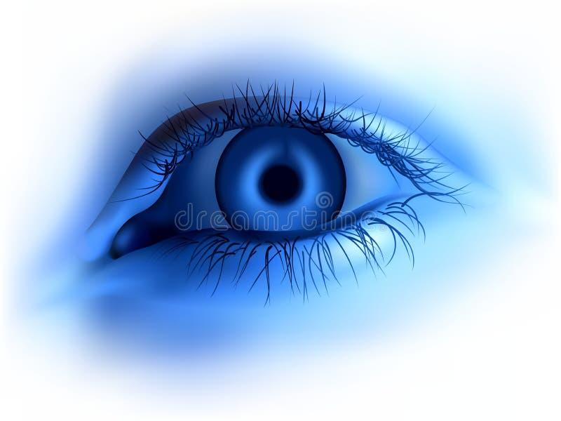 Blaues menschliches Auge stock abbildung