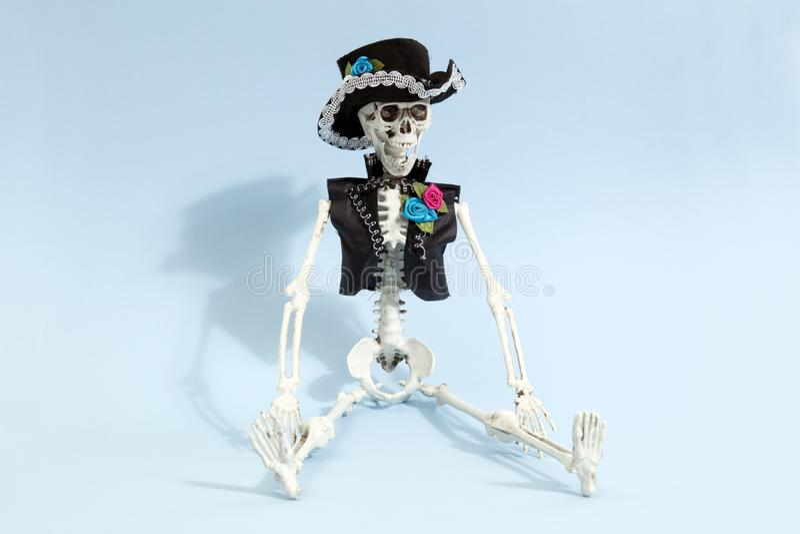 Blaues mexikanisches Skelett lizenzfreie stockbilder