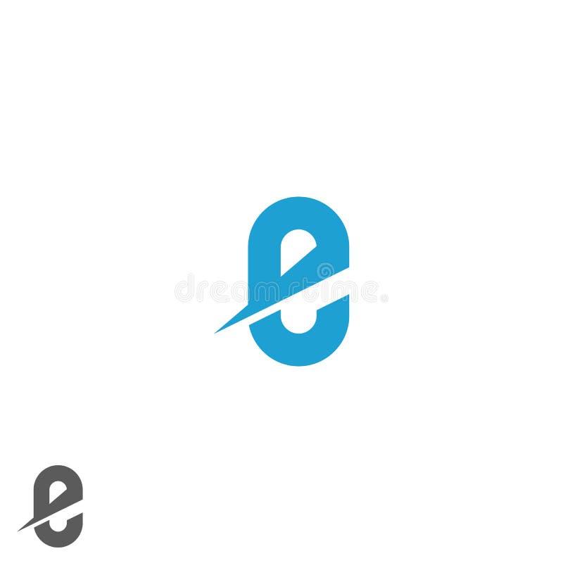 Blaues Modell des Logos des Buchstaben E, Richtungsnetzemblem, flache grafische geometrische Form, Dynamikbewegungs-Technologieik stock abbildung