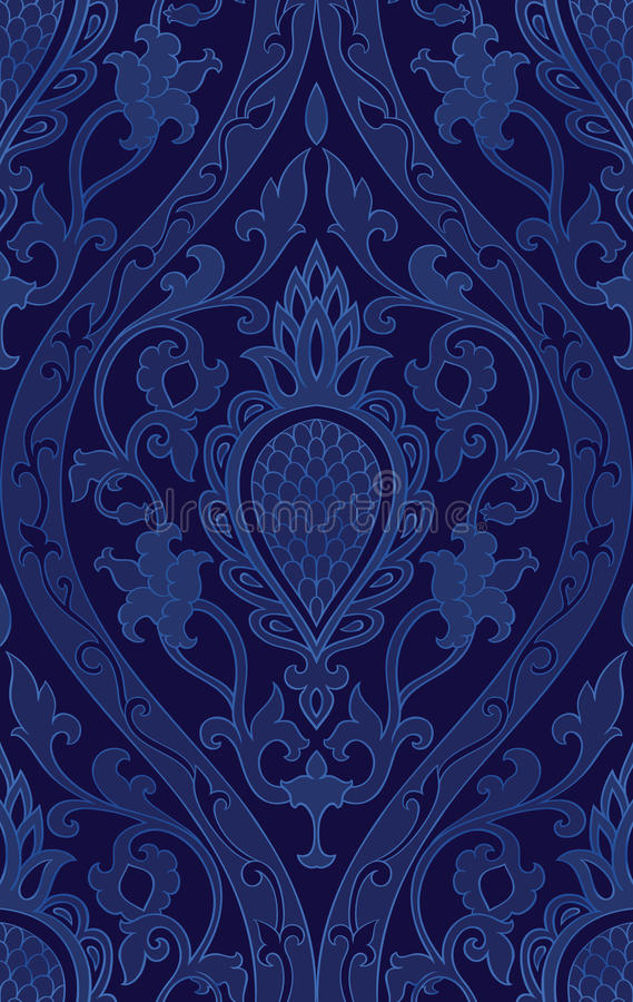 Blaues Muster mit Damast stock abbildung