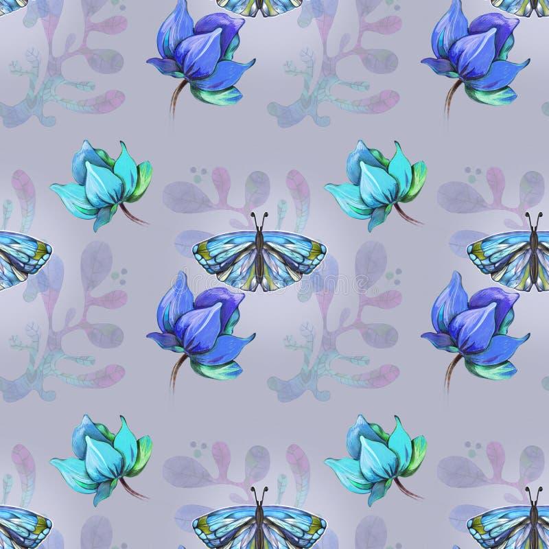 Blaues Muster mit Schmetterling lizenzfreie abbildung