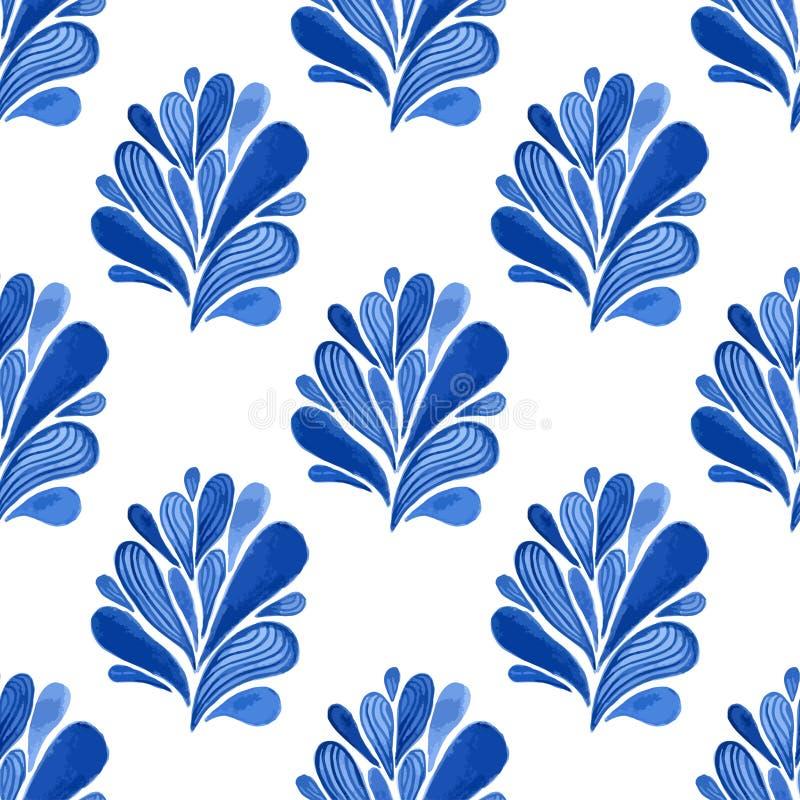 Blaues nahtloses mit Blumenmuster des Aquarells mit Blättern Vektorhintergrund für Gewebe, Tapete, die Verpackung oder Gewebedesi vektor abbildung