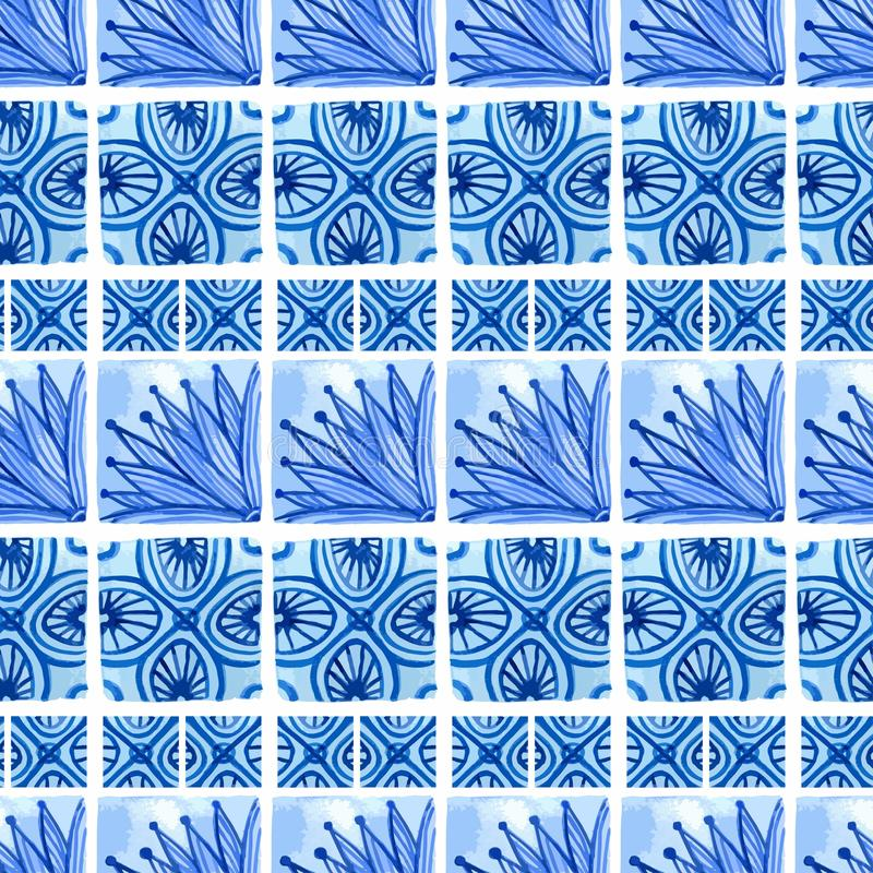Blaues nahtloses mit Blumenmuster des Aquarells Vector Hintergrund in der Art der chinesischen Malerei auf Porzellan oder Russe,  stock abbildung